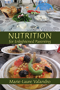 Nutrition for Enlightened Parenting cover showing plates of colorful food on a table.